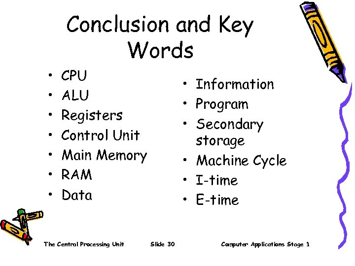 Conclusion and Key Words • • CPU ALU Registers Control Unit Main Memory RAM