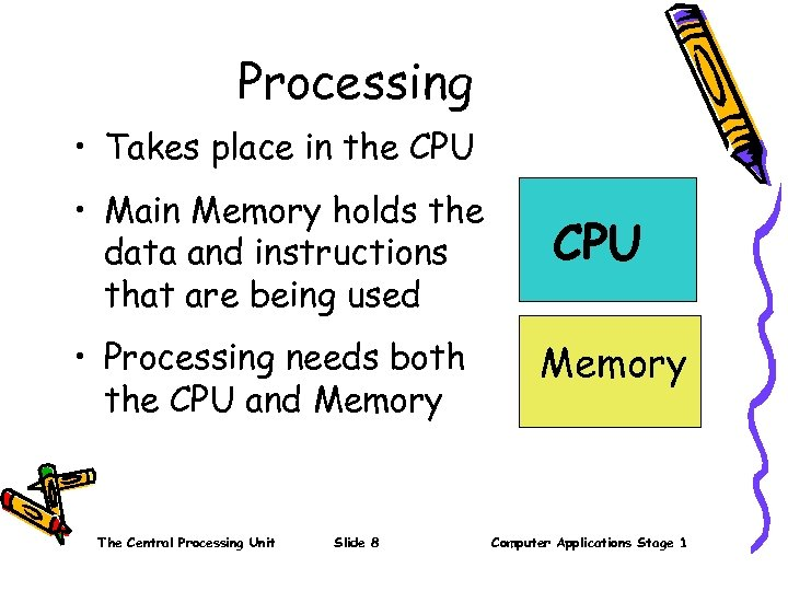Processing • Takes place in the CPU • Main Memory holds the data and