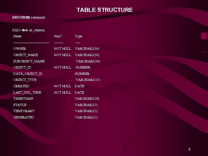TABLE STRUCTURE DESCRIBE command: SQL> desc all_objects; Name Null? Type ---------------- ---- OWNER NOT
