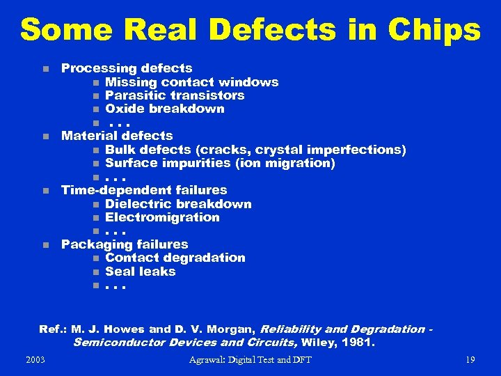 Some Real Defects in Chips n n Processing defects n Missing contact windows n