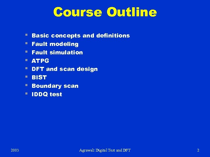 Course Outline § § § § 2003 Basic concepts and definitions Fault modeling Fault