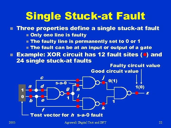 Single Stuck-at Fault n Three properties define a single stuck-at fault n n Only