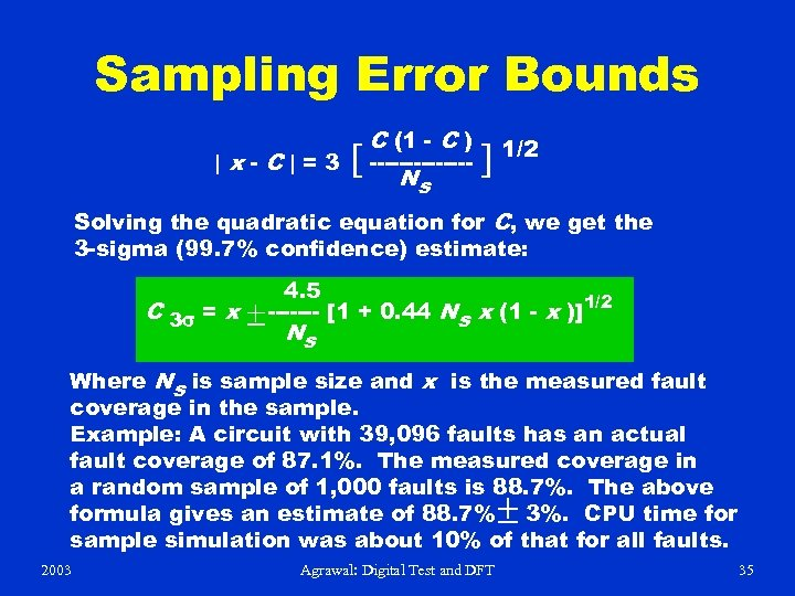 Sampling Error Bounds |x-C|=3 C (1 - C ) [ ------- ] 1/2 N
