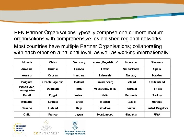 EEN Partner Organisations typically comprise one or more mature organisations with comprehensive, established regional