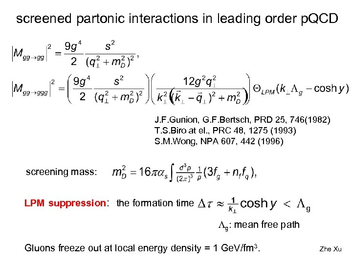 screened partonic interactions in leading order p. QCD J. F. Gunion, G. F. Bertsch,
