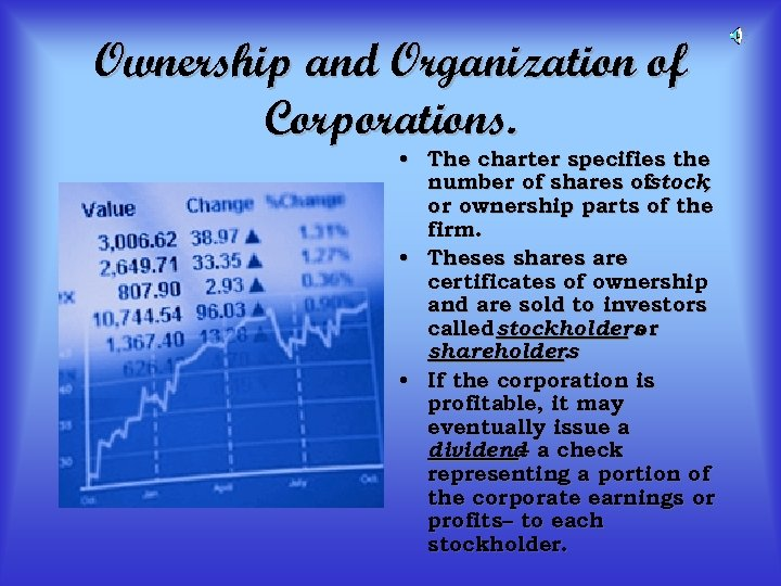 Ownership and Organization of Corporations. • The charter specifies the number of shares ofstock