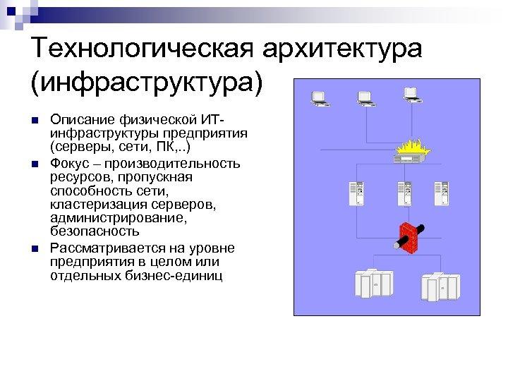 Технологическая архитектура (инфраструктура) n n n Описание физической ИТинфраструктуры предприятия (серверы, сети, ПК, .