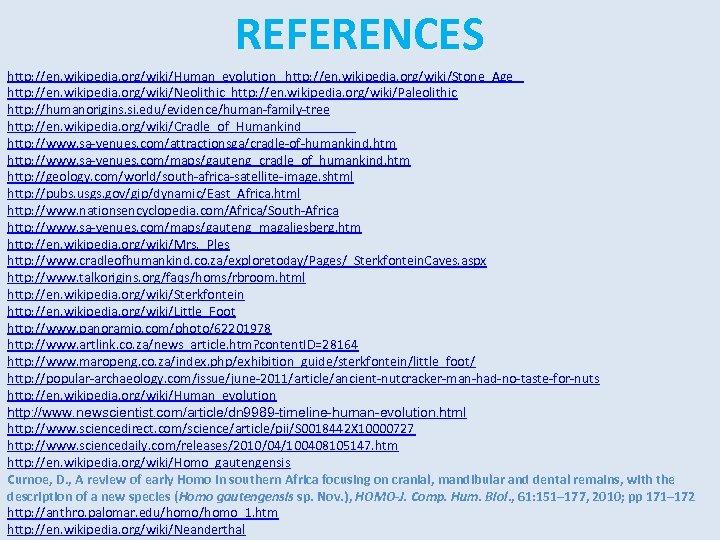 REFERENCES http: //en. wikipedia. org/wiki/Human_evolution http: //en. wikipedia. org/wiki/Stone_Age http: //en. wikipedia. org/wiki/Neolithic http: