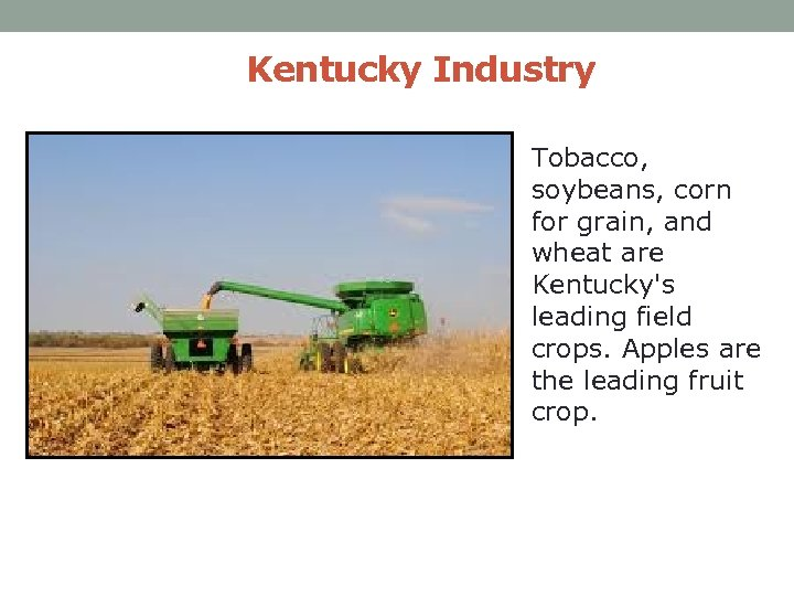 Kentucky Industry Tobacco, soybeans, corn for grain, and wheat are Kentucky's leading field crops.