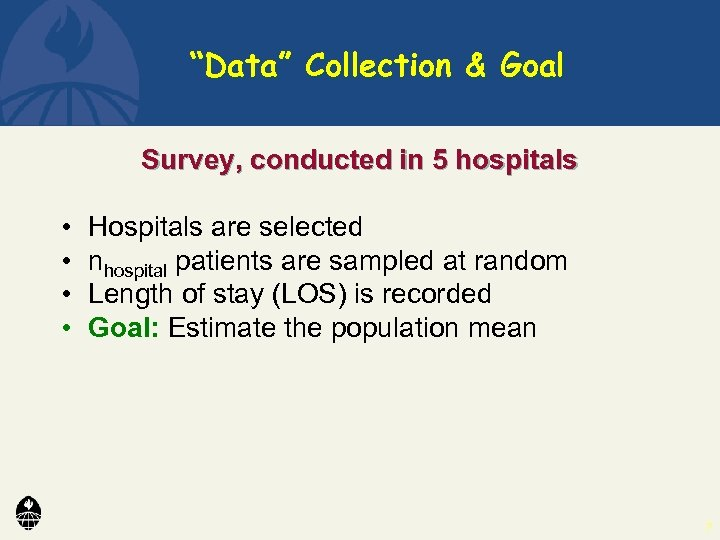 """""""Data"""" Collection & Goal Survey, conducted in 5 hospitals • • Hospitals are selected"""