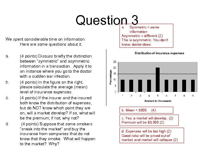 Question 3 a. We spent considerable time on information. Here are some questions about