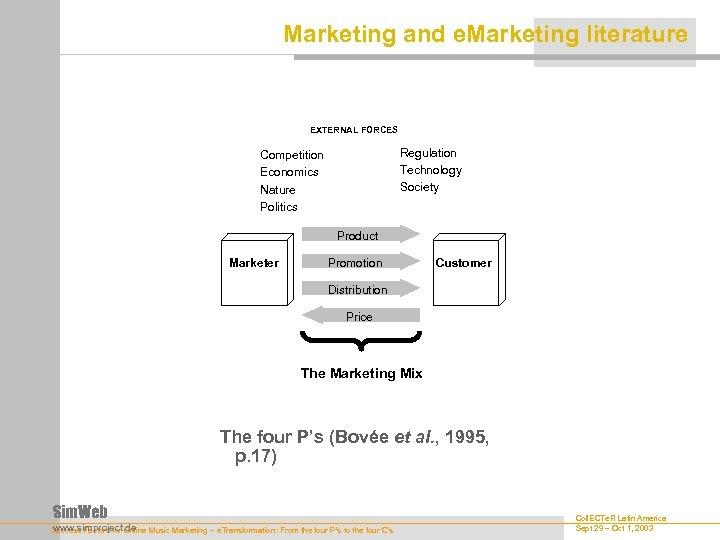 Marketing and e. Marketing literature EXTERNAL FORCES Regulation Technology Society Competition Economics Nature Politics