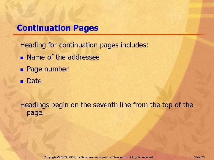 Continuation Pages Heading for continuation pages includes: n Name of the addressee n Page