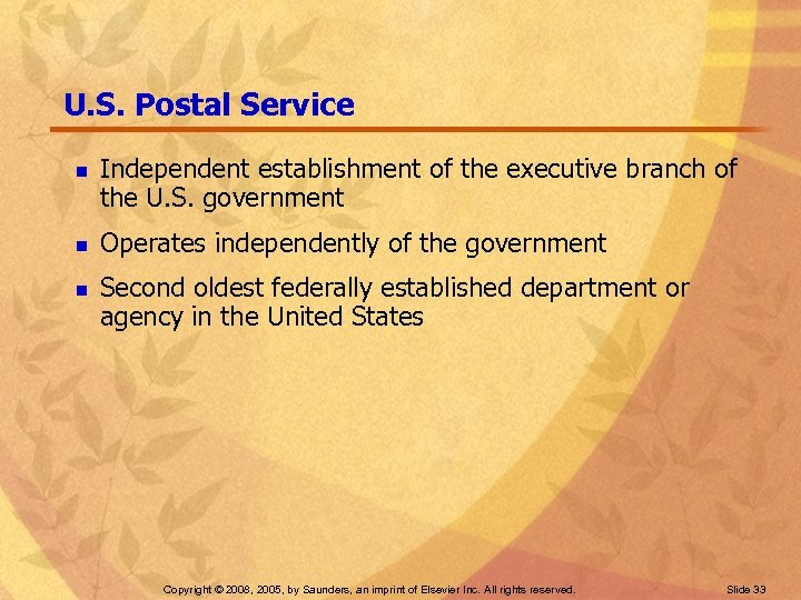 U. S. Postal Service n n n Independent establishment of the executive branch of