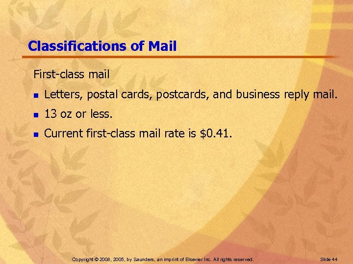 Classifications of Mail First-class mail n Letters, postal cards, postcards, and business reply mail.