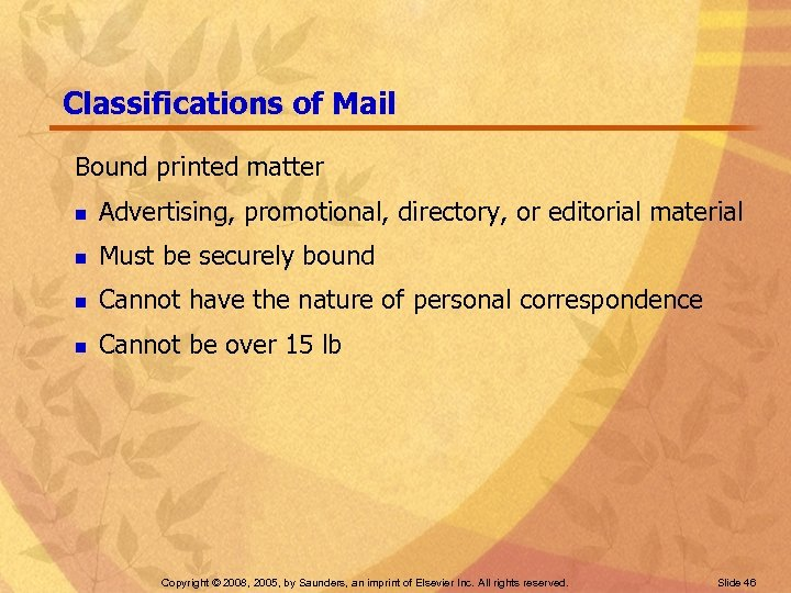 Classifications of Mail Bound printed matter n Advertising, promotional, directory, or editorial material n