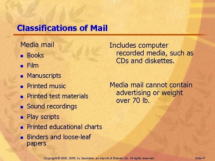 Classifications of Mail Media mail n Books n Film n Manuscripts n Printed music
