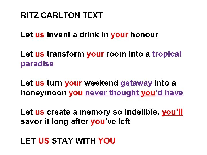 RITZ CARLTON TEXT Let us invent a drink in your honour Let us transform