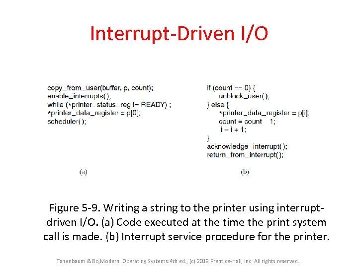 Interrupt-Driven I/O Figure 5 -9. Writing a string to the printer using interruptdriven I/O.
