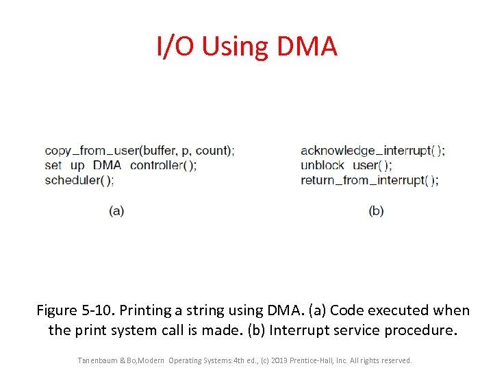 I/O Using DMA Figure 5 -10. Printing a string using DMA. (a) Code executed