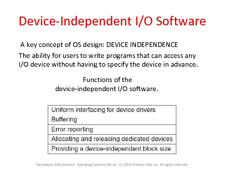 Device-Independent I/O Software A key concept of OS design: DEVICE INDEPENDENCE The ability for