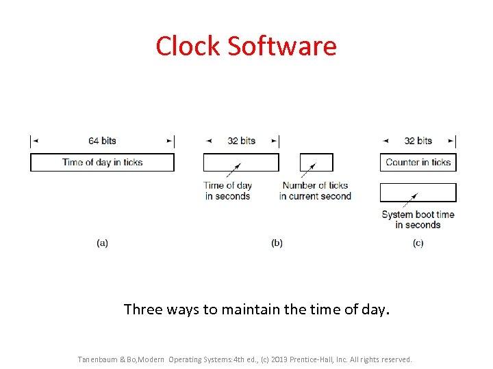 Clock Software Three ways to maintain the time of day. Tanenbaum & Bo, Modern