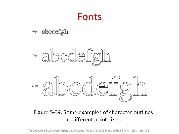 Fonts Figure 5 -39. Some examples of character outlines at different point sizes. Tanenbaum