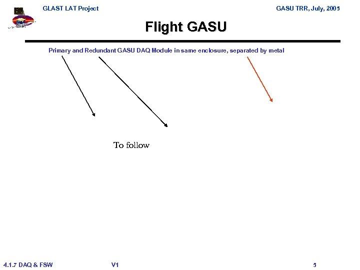 GLAST LAT Project GASU TRR, July, 2005 Flight GASU Primary and Redundant GASU DAQ