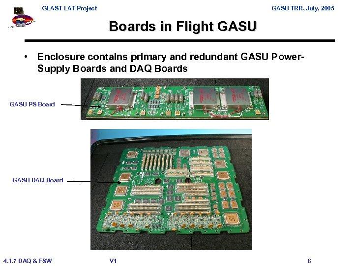 GLAST LAT Project GASU TRR, July, 2005 Boards in Flight GASU • Enclosure contains