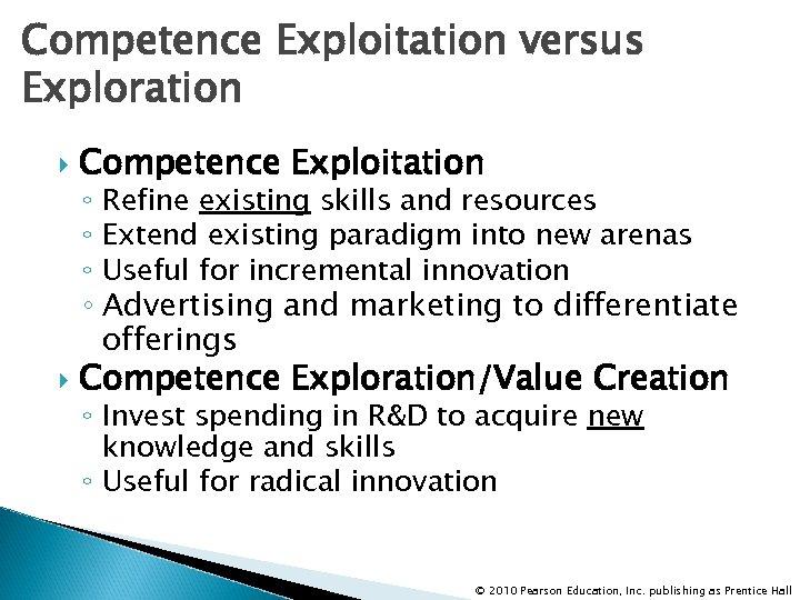 Competence Exploitation versus Exploration Competence Exploitation ◦ Refine existing skills and resources ◦ Extend