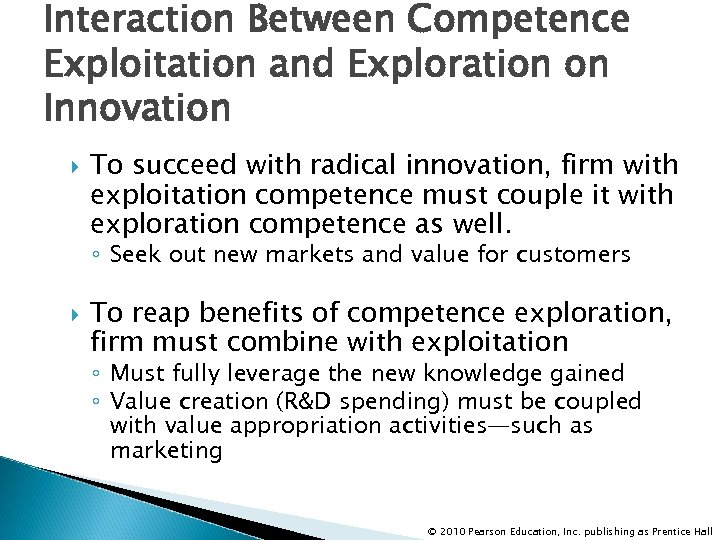 Interaction Between Competence Exploitation and Exploration on Innovation To succeed with radical innovation, firm
