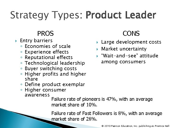 Strategy Types: Product Leader PROS CONS Entry barriers Large development costs ◦ Economies of
