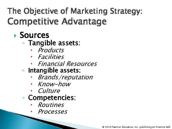 The Objective of Marketing Strategy: Competitive Advantage Sources ◦ Tangible assets: Products Facilities Financial