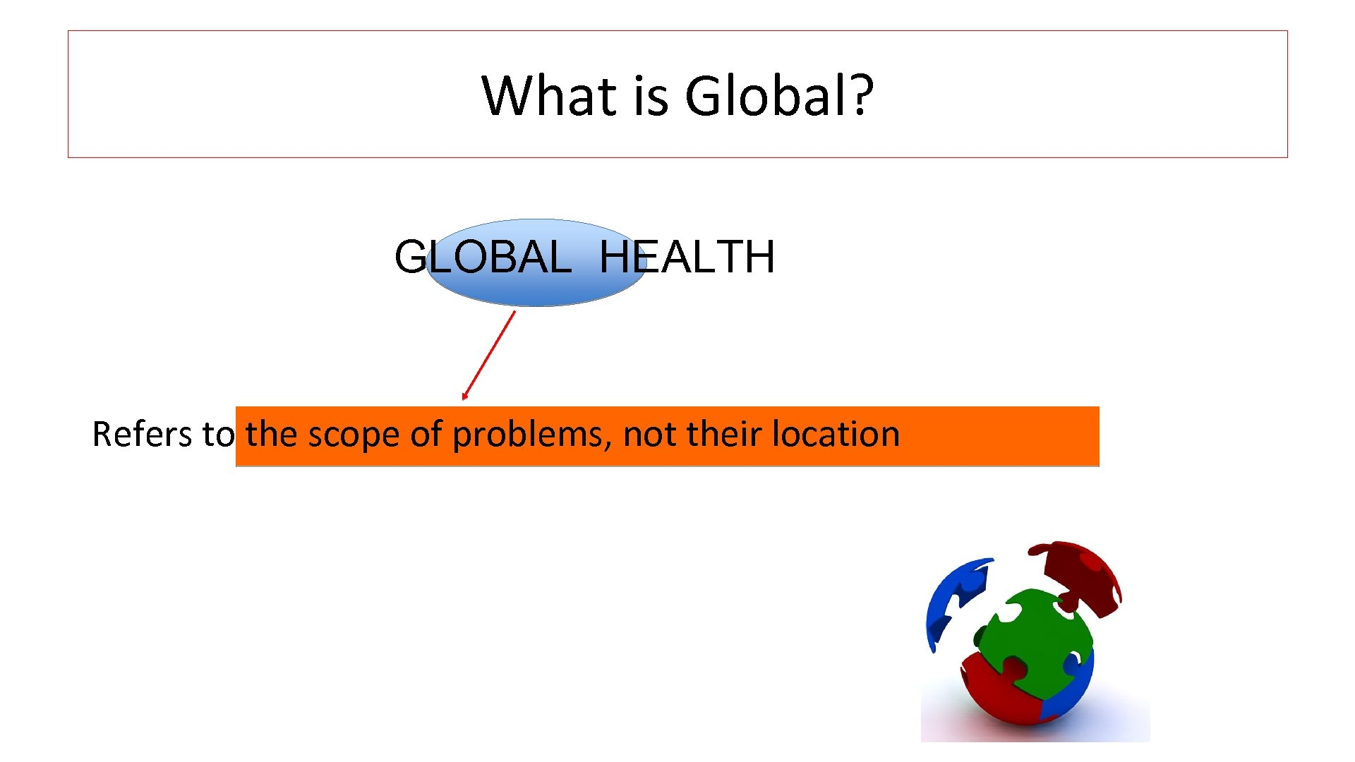 What is Global? GLOBAL HEALTH Refers to the scope of problems, not their location