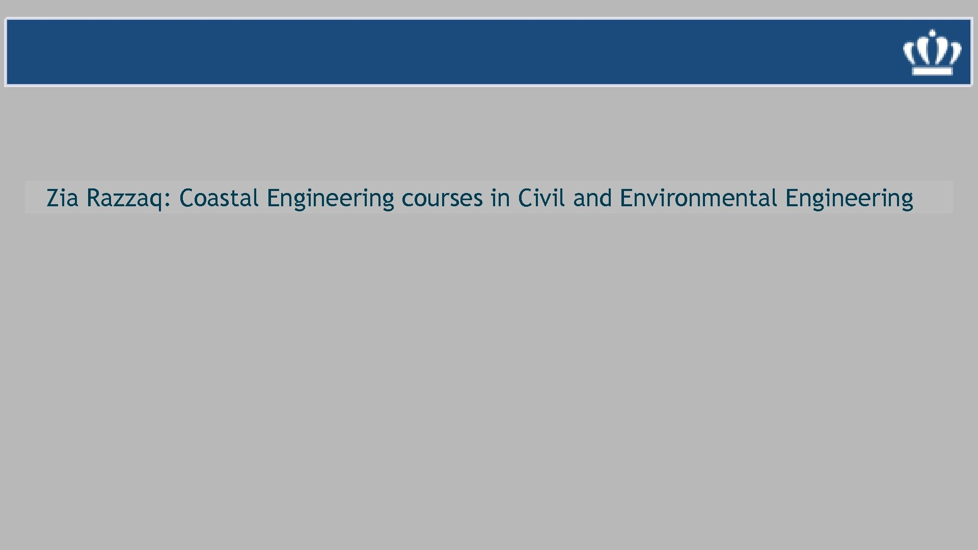 Zia Razzaq: Coastal Engineering courses in Civil and Environmental Engineering