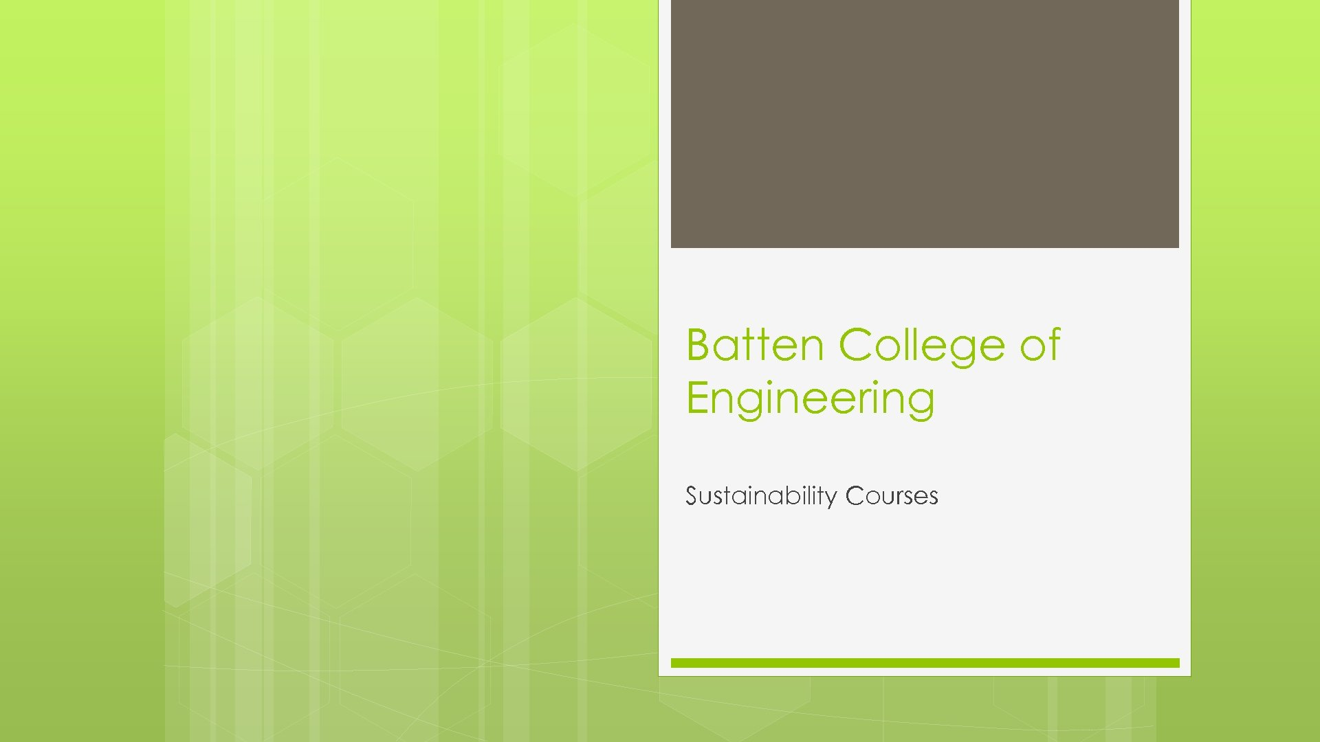 Batten College of Engineering Sustainability Courses