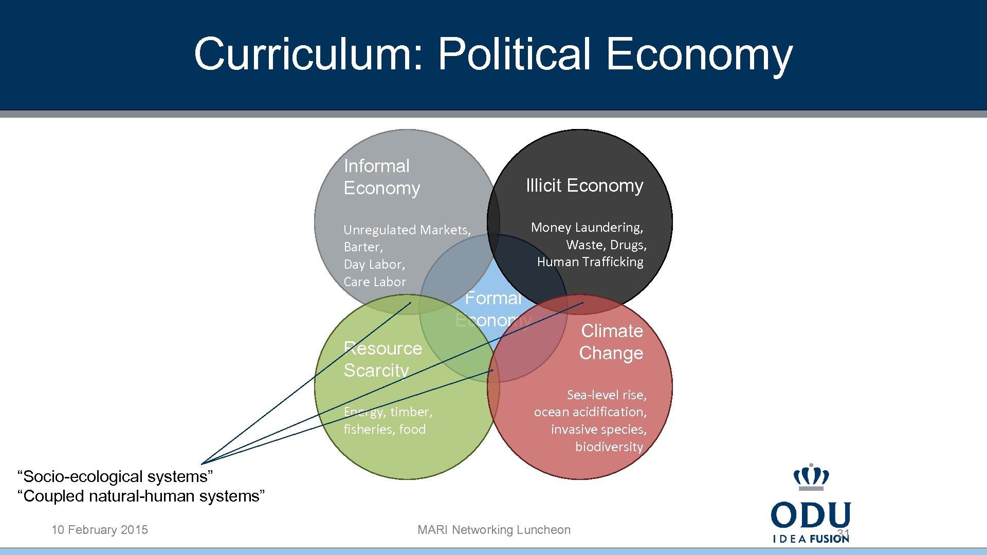 Curriculum: Political Economy Informal Economy Illicit Economy Unregulated Markets, Barter, Day Labor, Care Labor