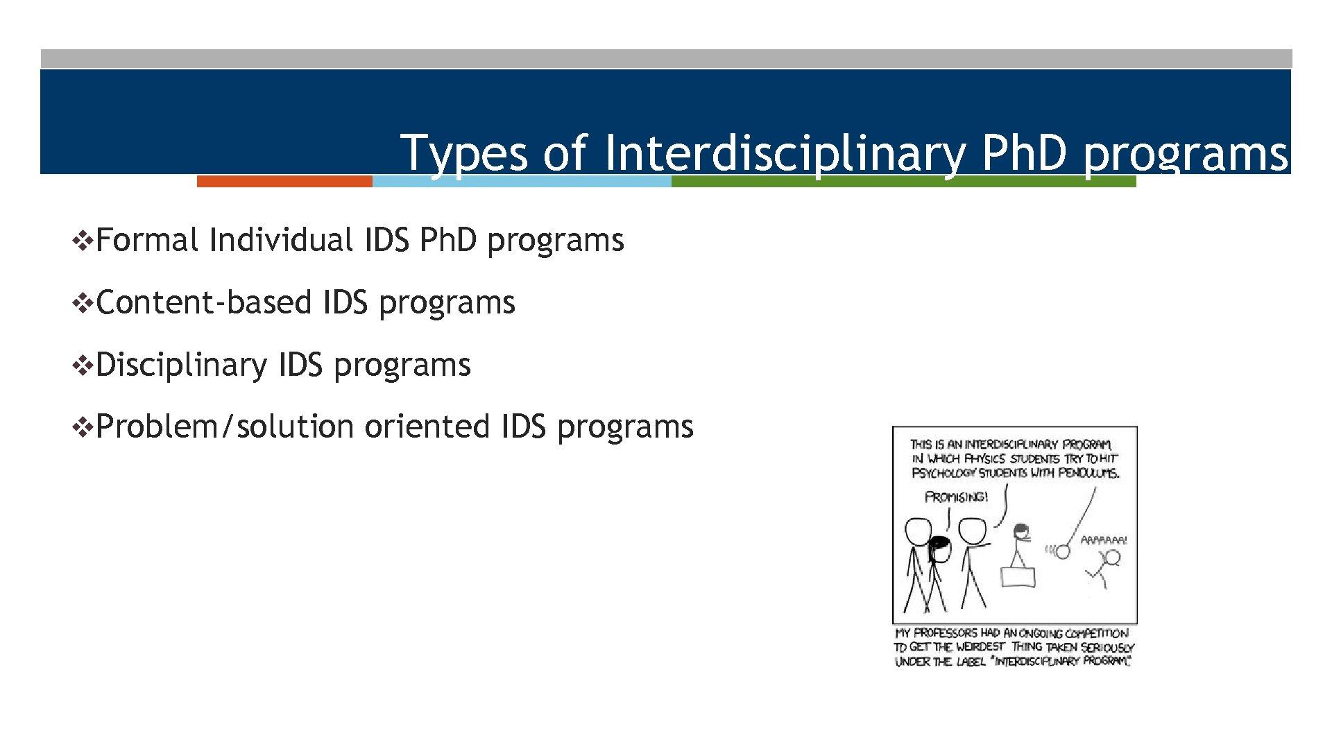 Types of Interdisciplinary Ph. D programs v. Formal Individual IDS Ph. D programs v.