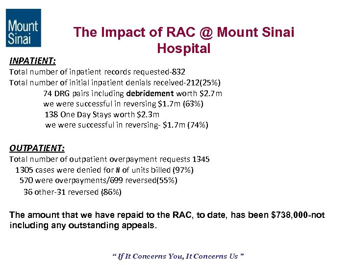 INPATIENT: The Impact of RAC @ Mount Sinai Hospital Total number of inpatient records