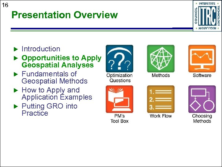 16 Presentation Overview Introduction Opportunities to Apply Geospatial Analyses Fundamentals of Geospatial Methods How