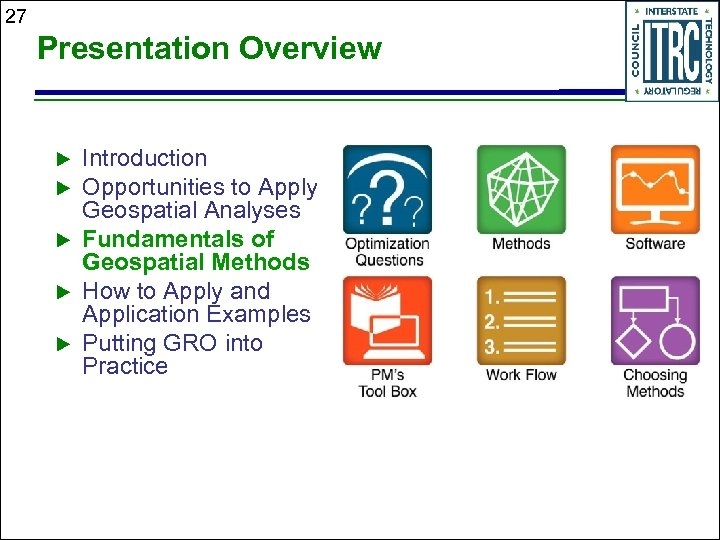 27 Presentation Overview Introduction Opportunities to Apply Geospatial Analyses Fundamentals of Geospatial Methods How