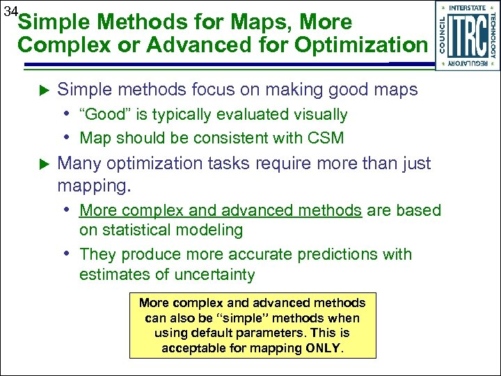 34 Simple Methods for Maps, More Complex or Advanced for Optimization Simple methods focus
