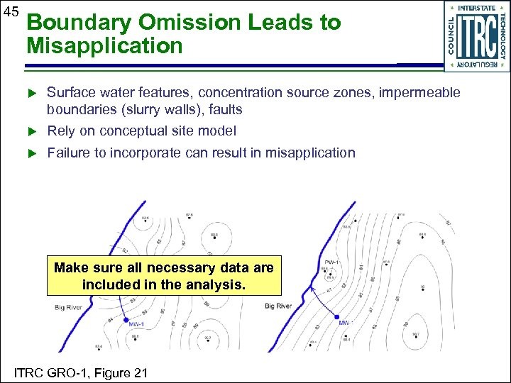 45 Boundary Omission Leads to Misapplication Surface water features, concentration source zones, impermeable boundaries