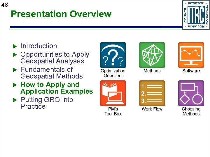 48 Presentation Overview Introduction Opportunities to Apply Geospatial Analyses Fundamentals of Geospatial Methods How
