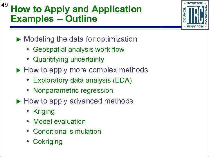 49 How to Apply and Application Examples -- Outline Modeling the data for optimization