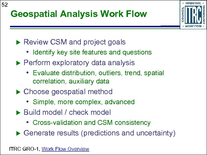 52 Geospatial Analysis Work Flow Review CSM and project goals • Identify key site