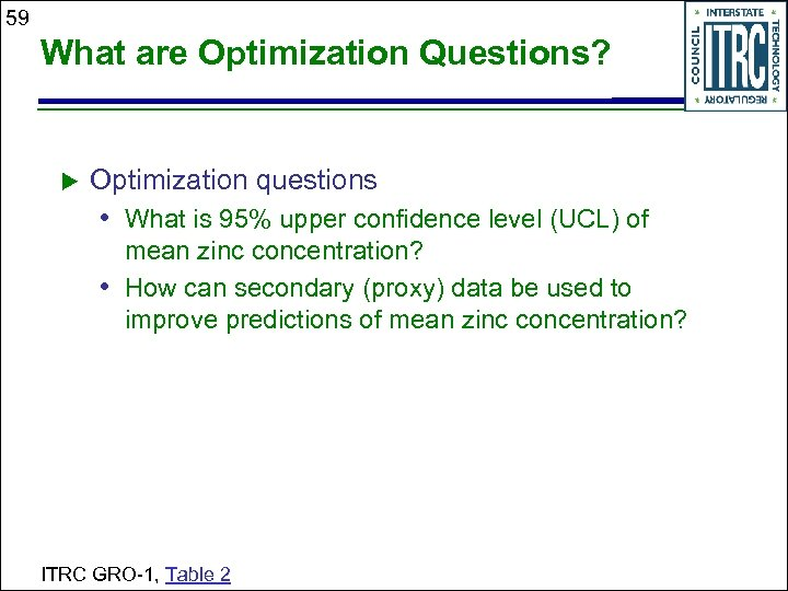 59 What are Optimization Questions? Optimization questions • What is 95% upper confidence level