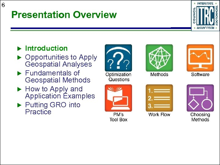 6 Presentation Overview Introduction Opportunities to Apply Geospatial Analyses Fundamentals of Geospatial Methods How