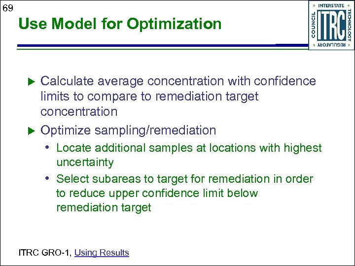 69 Use Model for Optimization Calculate average concentration with confidence limits to compare to