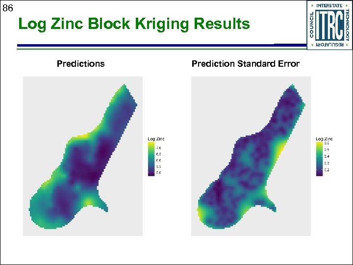 86 Log Zinc Block Kriging Results Prediction Standard Error